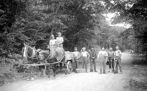 Antique photo of road work crew.